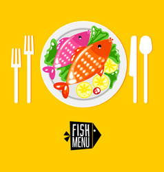 cartoone fish menu with icon vector image