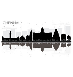 Chennai city skyline black and white silhouette vector