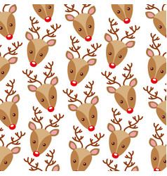 christmas reindeer head horned decoration pattern vector image