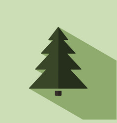 Christmas tree icon with shade vector