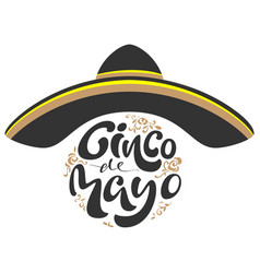 cinco de mayo black sombrero hat and lettering vector image