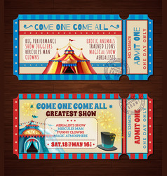 circus retro tickets banners set vector image