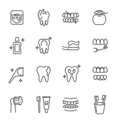Collection dental care monochrome icons linear vector
