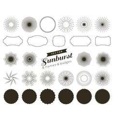 collection of hand drawn retro sunburst bursting vector image