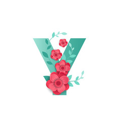 color letter y with beautiful flowers vector image