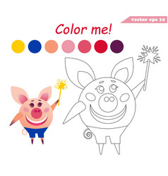 Coloring book with pig holding magic stick vector