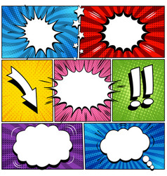 Comic book page speech bubbles set vector