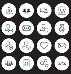 communication icons set with inbox share vector image