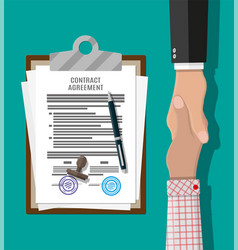 contract agreement paper and handshake vector image