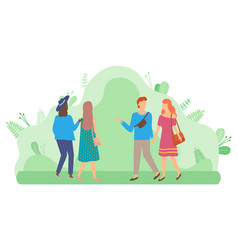 Couple walking in park people and green foliage vector