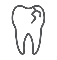 Cracked tooth line icon stomatology and dental vector