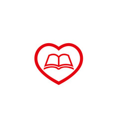 creative heart love book logo vector image