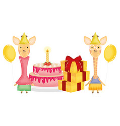 Cute giraffes couple with gifts and cake in vector
