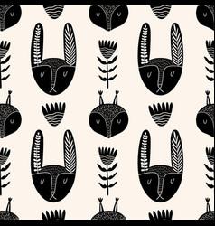 cute rabbit seamless pattern in scandinavian vector image