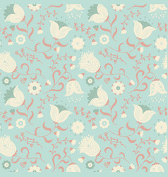 cute wallpaper with beauty flat style flowers vector image
