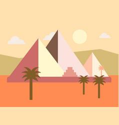 Desert egypt pyramids sunset flat vector