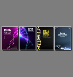 dna poster set medical banner human vector image