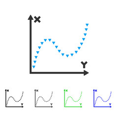 Dotted function graph flat icon vector