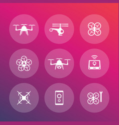drones copters quadrocopters icons set vector image
