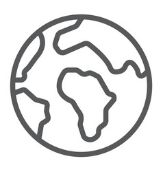 earth line icon map and planet globe sign vector image