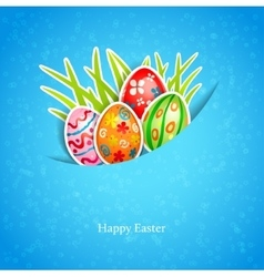 Easter blue background with egg and grass vector