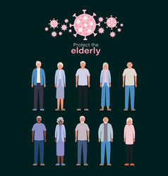 Elder women and men against covid 19 design vector