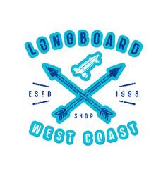 emblem of longboard shop vector image