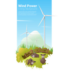 energy concept background with wind turbine vector image