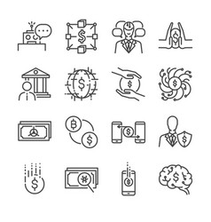 Fintech line icon set vector