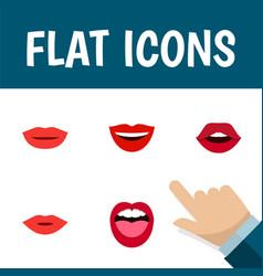 Flat icon mouth set of pomade lipstick tongue vector