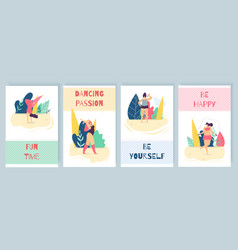 flat motivation woman promotion cartoon text card vector image