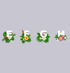 floral alphabet paper cut e vector image