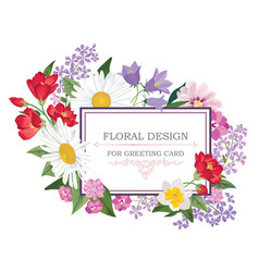 floral frame summer greeting card flower bouquet vector image