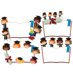 four blank books with kids in graduation outfits vector image