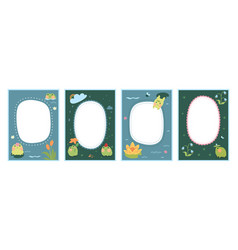 Frame set for baby s photo album with cute frogs vector