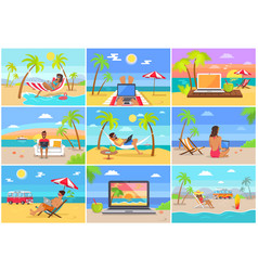 Freelance workers at sunny tropical beaches set vector