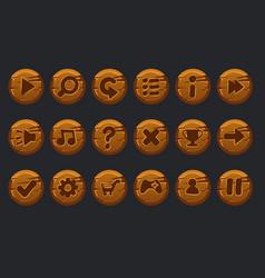 game ui kit set cartoon wooden circles vector image