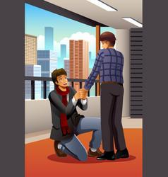 Gay man proposing to his boyfriend vector