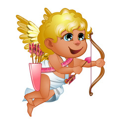 Girl cupid in toga with golden wings and hair vector