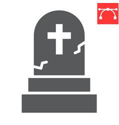 Gravestone glyph icon halloween and scary vector