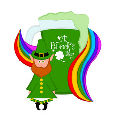Green beer with a rainbow and irish elf vector