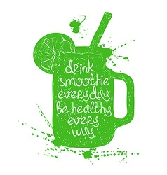 Green smoothie in mason jar silhouette vector image