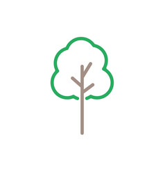 green tree icon line color nature symbol i vector image