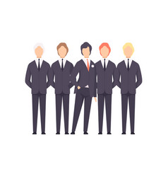 groom with groomsmen wedding ceremony vector image