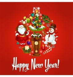 Happy New Year poster Ornament ball symbol vector