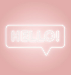 hello neon sign glowing speech bubble with text vector image