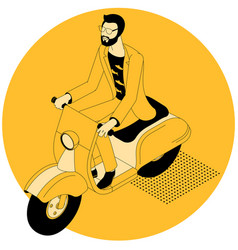 hipster man riding scooter motor bike vector image