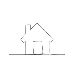 home one line drawing vector image