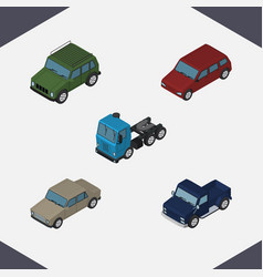 isometric car set of suv armored car and other vector image
