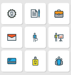 job icons colored line set with bag employee vector image